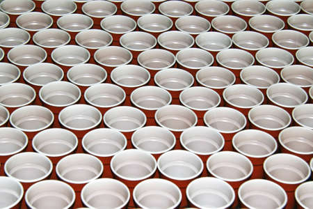 Group of disposable plastic cups photo