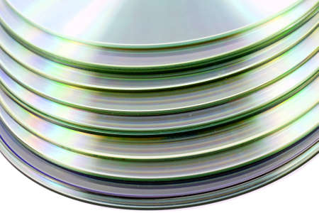 Stack of compact discs on white background