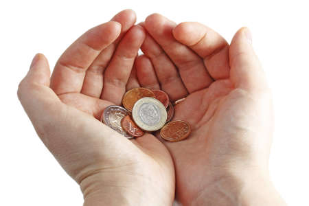 Hands with euro coins on white background