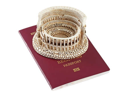 European Union passport and figurine of coliseum Stock Photo