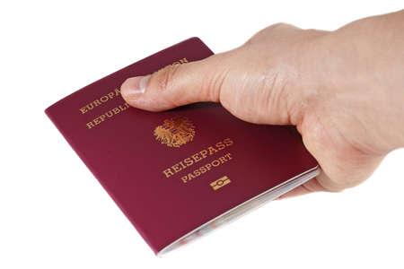 austrian: A hand with European Union passport