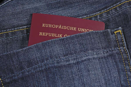 A EU passport in a pocket photo
