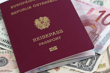 European Union passport and money  photo