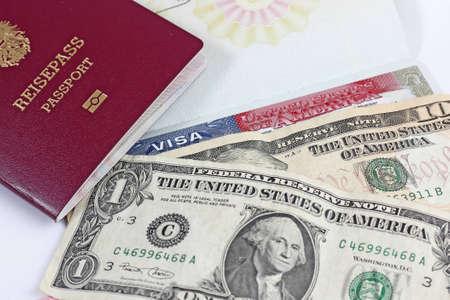 European Union passport, dollars and US visa