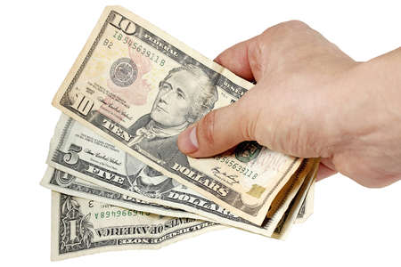 Hand with dollars on white background