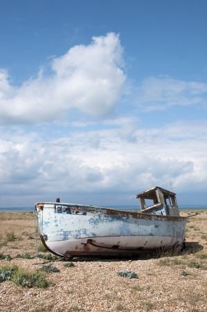 dungeness: Old Boat at Dungeness, Kent, UK Stock Photo