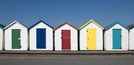Beach Huts at Paignton, Devon, UK.