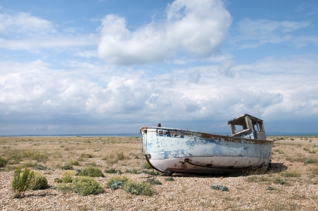 dungeness: Old Boat at Dungeness, Kent, England