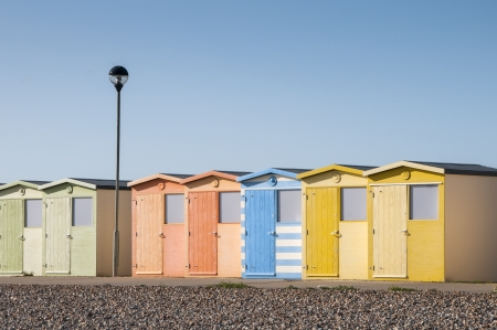 sussex: Beach Huts at Seaford, Sussex, UK Editorial