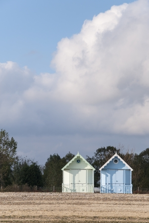 mersea: Two New Beach Huts at West Mersea, Essex, UK.