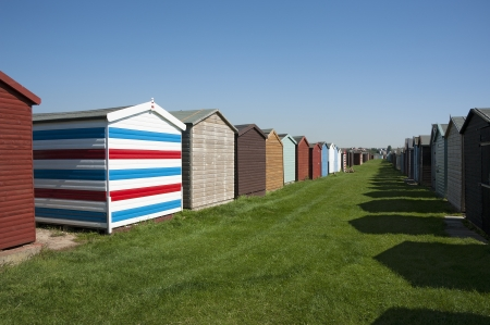 Beach Huts at Dovercourt, near Harwich, Essex, UK  photo