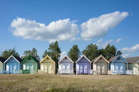 mersea: Colorful Beach Huts at West Mersea, Essex, UK.
