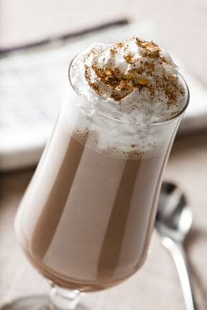 Photograph of a Chocolate Milk Shake with Whipped Cream and Cinnamon Stok Fotoğraf