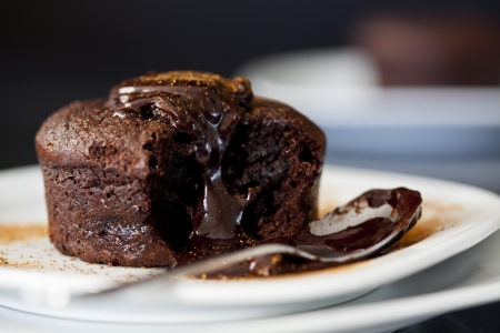 dessert plate: Close up Photograph of a chocolate souffle