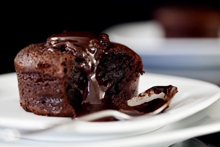 Close up Photograph of a chocolate souffle photo