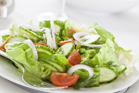 Close up photograph of a fresh and healthy salad
