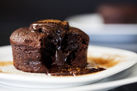chocolate cake: Close up Photograph of a chocolate souffle