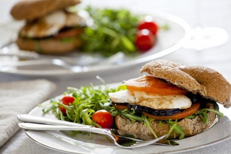 Photograph of a vegetarian sandwich made with eggplant tomato and mozzarella Stock Photo