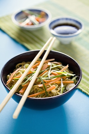 Photograph of a bowl of noodles with vegetables