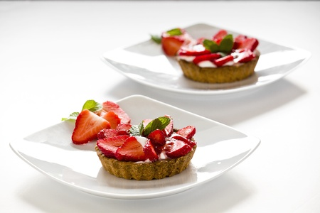 Photograph of a tasty strawberry pie on a plate Stock Photo
