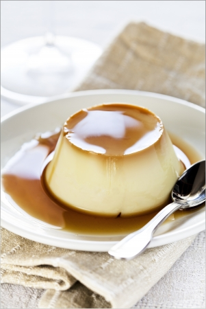 Close up photograph of a tasty cream caramel Stock Photo