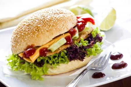 chicken burger: Close up photograph of a home made burger Stock Photo