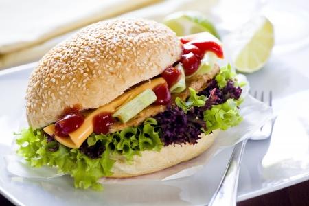 Close up photograph of a home made burger Stock Photo