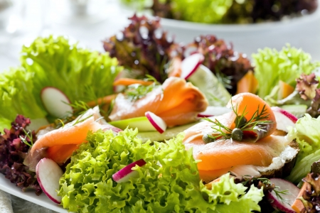 Photograph of a tasty salad with smoked salmon on bread