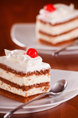 Close up photograph of a delicious vanilla cream cake Stock Photo