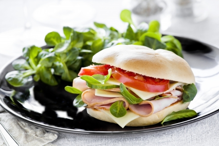 Photograph of a tasty bagel with salad on the side Stock Photo