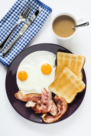 Photograph of an eggs and bacon breakfast with coffee