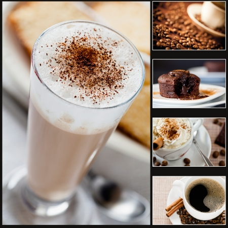 Collage of five photographs of coffee and cake