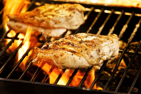 Photograph of two chicken filets on the barbecue