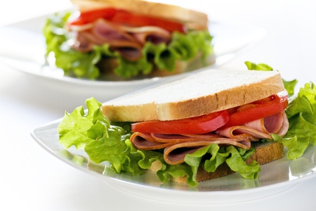 Photgraph of a tasty ham and tomato sandwich Stock Photo