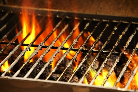 Photograph of a barbecue grill and flames