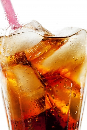 Photograph of a refreshing glass of cola with ice cubes Stock Photo