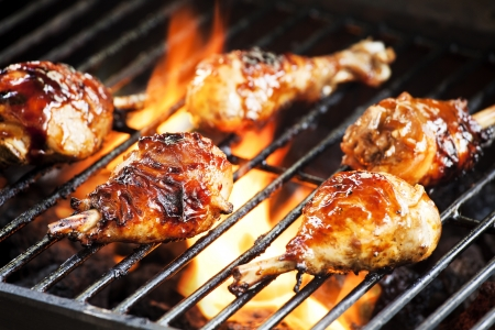 Photograph of five chicken legs cooked on the grill Stock Photo - 17011722