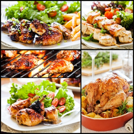 Collage of five different meals with chicken and salad