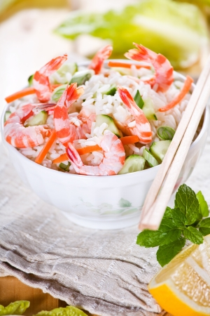 Close up photograph of a meal of rice and shrimps Stock Photo