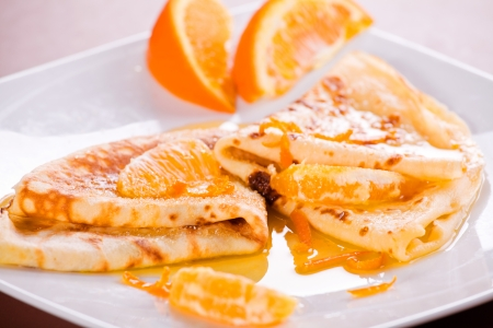 Photograph of a plate of crepes for dessert