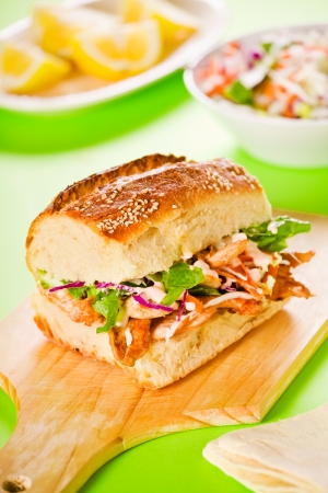 Close up photograph of a tasty chicken sandwich Stock Photo - 18707225