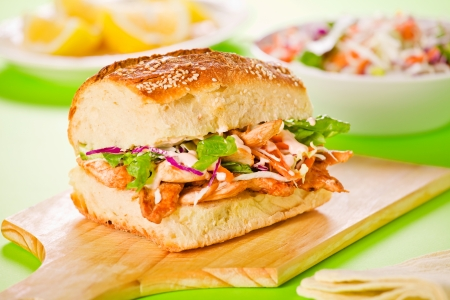 Close up photograph of a tasty chicken sandwich Stock Photo - 18707191
