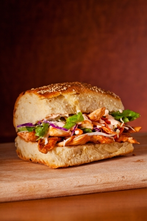 Close up photograph of a tasty chicken sandwich Stock Photo - 18707250