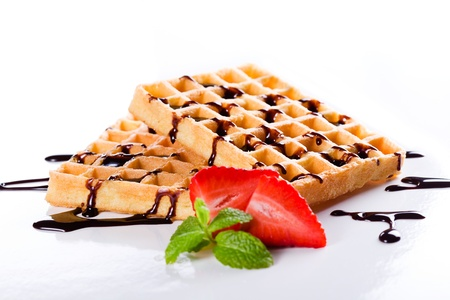 Close up photograph of some tasty waffles