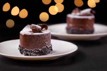 Close-up foto van een lekkere chocolade dessert