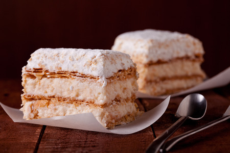 two pieces: Close up of two pieces of millefeuille
