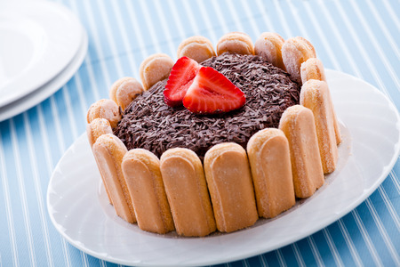 Close up of a chocolate and strawberries charlotte