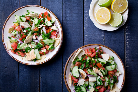Close up of a plate of lebanese fattoush