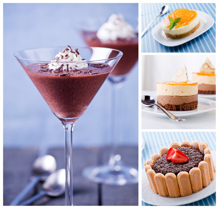 Collage of a variety of tasty desserts