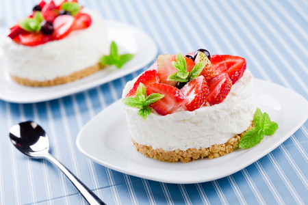 Close up of a homemade cheesecake